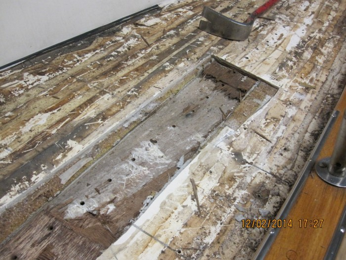 The underlying plywood under the genoa sheet travelers inside the GRP laminate was wet and had to be replaced.