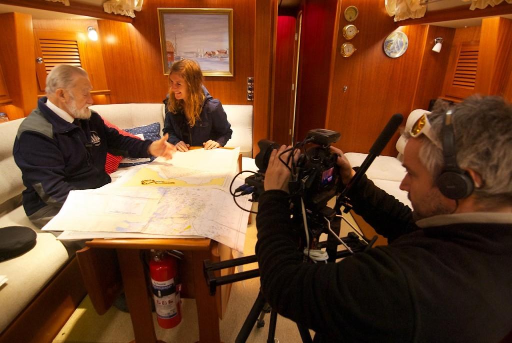 Lucia enjoying the many good stories told by Captain Baranski