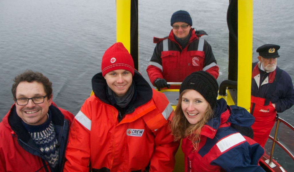 The Swedish Sea Rescue Society taking us out for a ride. From left to right: Carl, Lars, Artur, Lucia and Captain Baranski