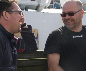This photo says it all: The members of the Refit Team of Ellös love working together, love Hallberg-Rassy boats and have a very close contact with customers. Carl Adams (left) and Christer Verta (right)